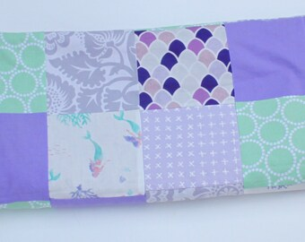 Purple and Mint Mermaid Baby Blanket, Purple and Mint Patchwork Baby Blanket