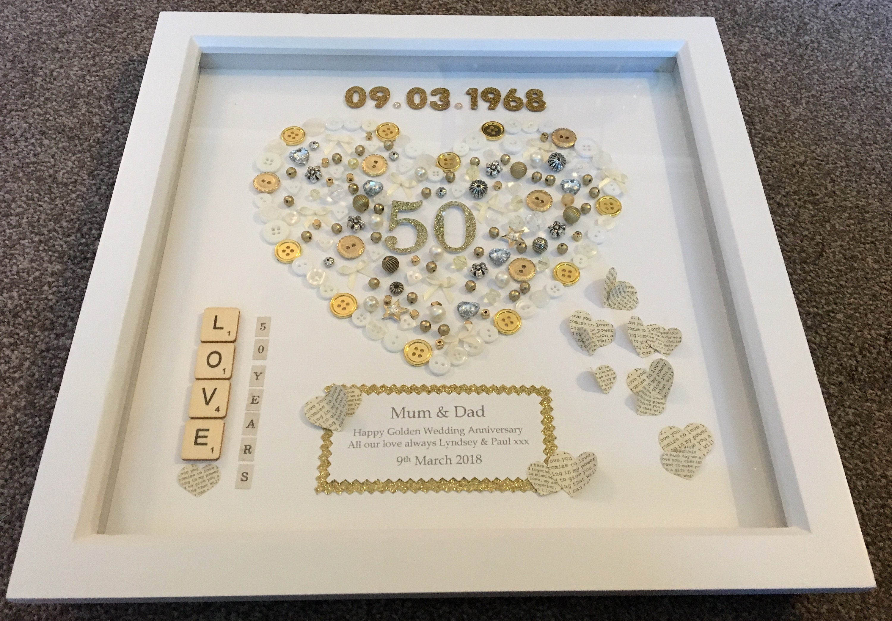 50th Wedding Anniversary Box Frame Etsy