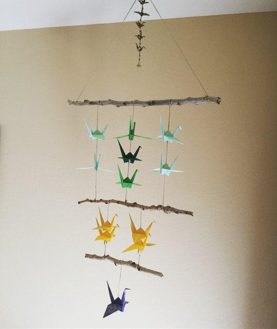 Baby Crib Mobile Origami Paper Crane Shades Color Cot Cranes ... | 676x570
