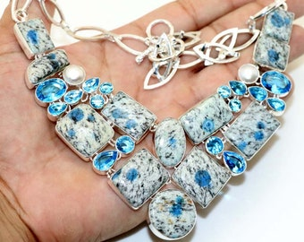 K-2 Blue , Pearl , Topaz  Quartz Handmade 925 Silver Plated Cluster Necklace Jewelry B 602