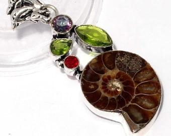 Ammonite Fossil , Peridot quartz , Mystic Topaz , Garnet Quartz  Handmade 925 Silver Plated Pendant 000