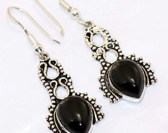 Black Onyx  Antique style   Handmade 925 Silver Plated Earrings CC