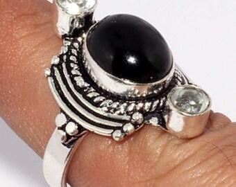 Black Onyx Crystal Quartz Handmade 925 Silver Plated Ring B 527