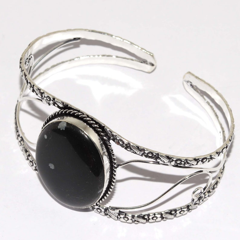 Natural Snowflake Obsidian  Adjustable Handmade 925 Sterling Silver Plated  Bangle Jewelry P 8678