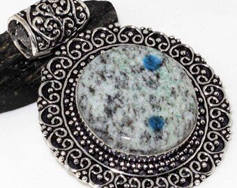 K-2 Blue Antique Style Handmade 925 Silver Plated Pendant 000