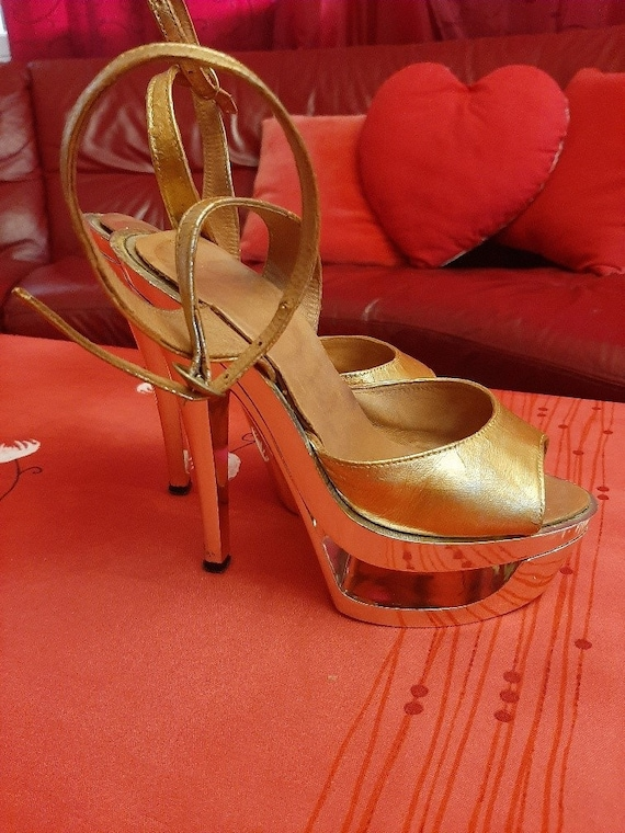 High platform sandal, golden platform shoes, leath
