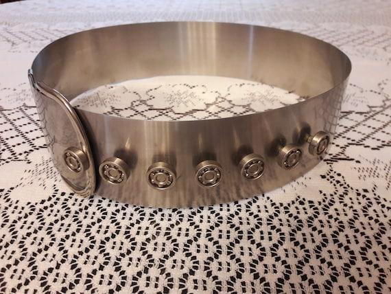 Large metal belt, rigid, futuristic belt, Paco Rab
