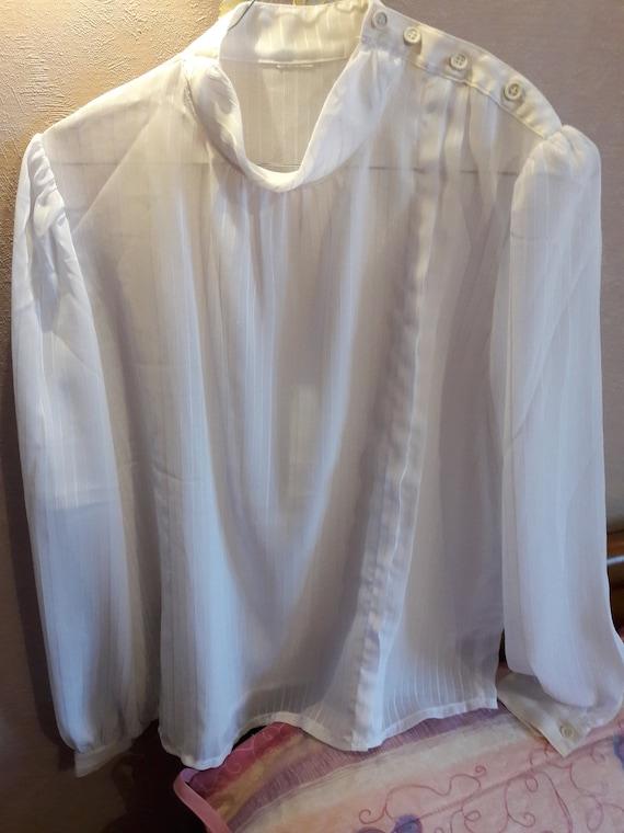 Transparent white blouse, white voile blouse, chic