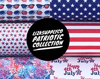 80160d69 July 4th, Independence Day, Patriotic, Stars, Stripes, Fireworks, Printed  Faux Leather Sheet, Bow Supplies, Printed Faux Leather