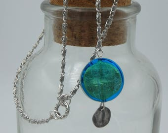 teal aqua lariat necklace, drop pendant, Y style (free shipping)