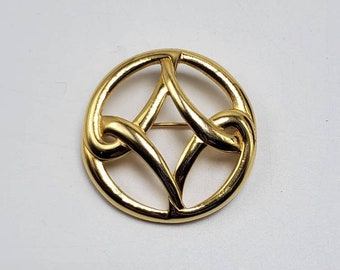 Vintage Signed Monet Gold Filigree White Rhinestone Celtic Knot Stick Pin Brooch