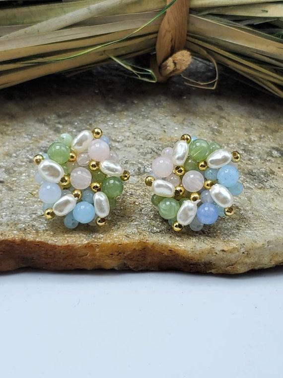 Faux Pearl Earrings Vintage 80s Earrings Cluster Beaded Earrings Bridal Cluster Earrings Clip On Earrings 80s Statement Earrings