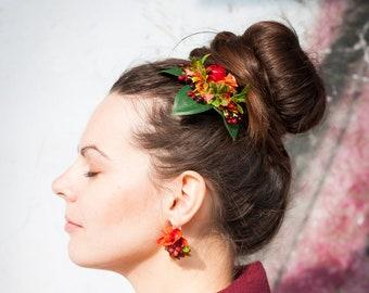 wood earrings lightweight earrings Benjoy Laser Creations Forrest Green Hex Leather Inlay Walnut statement earrings,