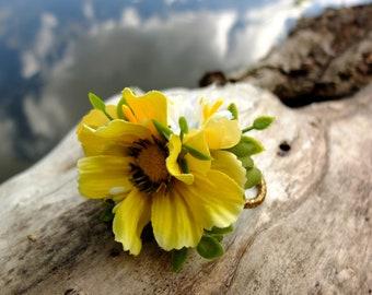 yellow flower hair tie