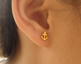 7c9a53360 Anchor Stud Earrings, 14k Solid Gold Anchor Earrings, Tiny Stud Earrings, Nautical  Earrings, Maritime Stud Earrings