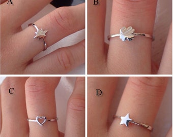 0e9724fdd On Sale- Simple Durable 14k Gold Ring -Star Burst Ring - Good Luck Clover  Ring - Open Your Heart Ring - Perfect Gift for Girls
