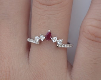 fd4262f53 Ruby Curved Wedding Band with White Sapphire for Matching with Center Stone  Engagement Ring Wrap