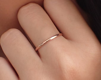 Simple Promise Ring Unique Band Stackable Plain Wedding Band 14k Rose Gold Wedding Band Art Deco Ring Womens Plain Wedding Ring