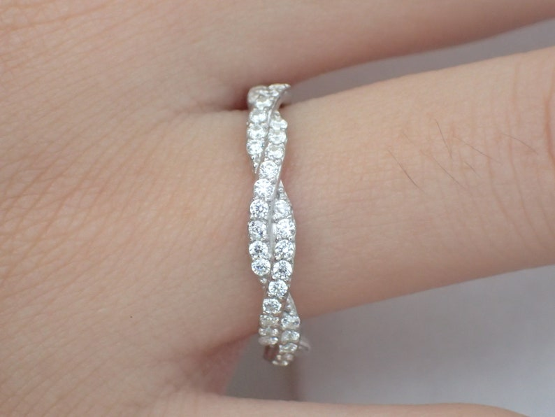 38cc4cf05dc98 Infinity Ring, Platinum Infinity Wedding Band, Infinity Diamond Band, Full  Eternity Ring, Delicate Infinity Ring