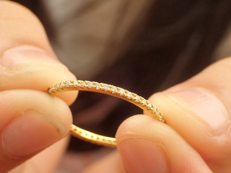 Pave Diamond Band 14K Yellow Gold Thin Dainty Band Ready to Ship Full Eternity Micro Pave Band Fast Shipping
