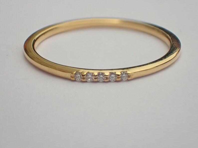Thin Dainty Band 5 Stones Moissanite Wedding Band 14k Gold Tiny Ultra-Thin Stackable Band Five Stone Ring