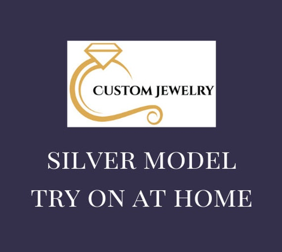 Wedding Band Silver Model Try On at Home Ring with CZ Stones Semi-Mount Ring Custom Design Ring Engagement Ring