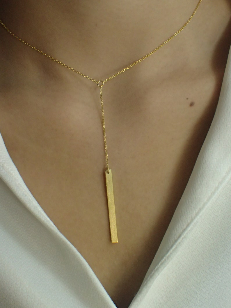 Dainty Bar Necklace  Skinny Vertical Bar  Silver Gold plated Necklace  Simple Everyday Necklace  Bridesmaids Gift