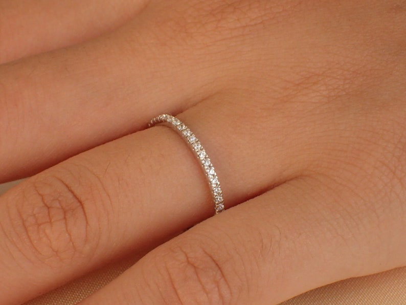 Micro Pave Half Eternity Band Thin Dainty Stacking Diamond Band Delicate Pave Ring Gold or Platinum 950