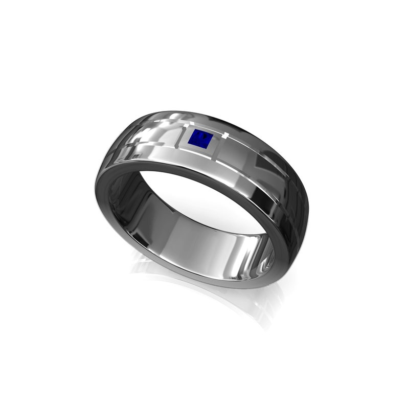 Single Sapphire Men Wedding Band 10k Solid Gold Mens Ring image 0