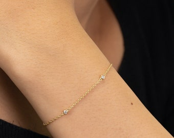 Solitaire Diamond Bracelet, Bezel Set Minimalist Bracelet, 14k Yellow Gold Yard Diamond Bracelet, Layering Bracelet, Bridal Season Sale