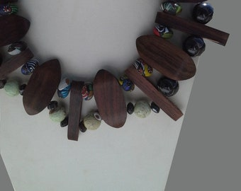 Wood African Trade Beads Coconut Silver Scoop Necklace