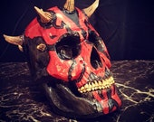 Handcarved Wood Darth Maul Skull - Wooden Skull Sculpture - Modern Woodwork - Wood Carving