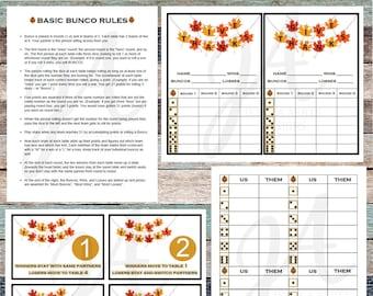 Thanksgiving Printable Bunco Cards