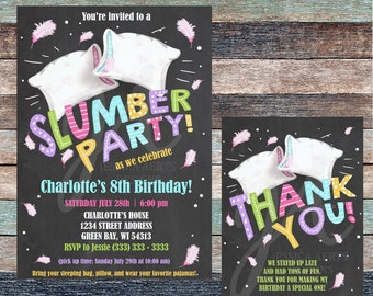 Slumber Party Personalized Birthday Invitation And Thank You Card