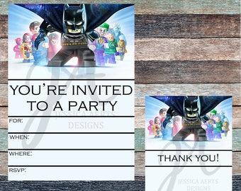 Lego Batman Print and Fill Birthday Invitation and Thank You Card