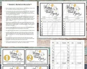 New Years Printable Bunco Cards