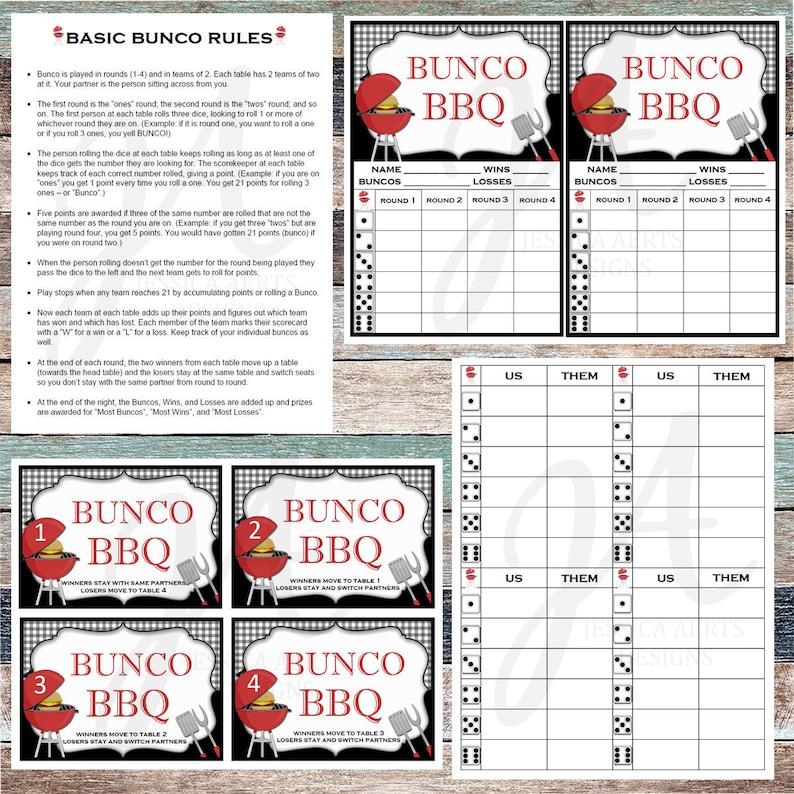 image relating to Bunco Rules Printable named BBQ Printable Bunco Playing cards