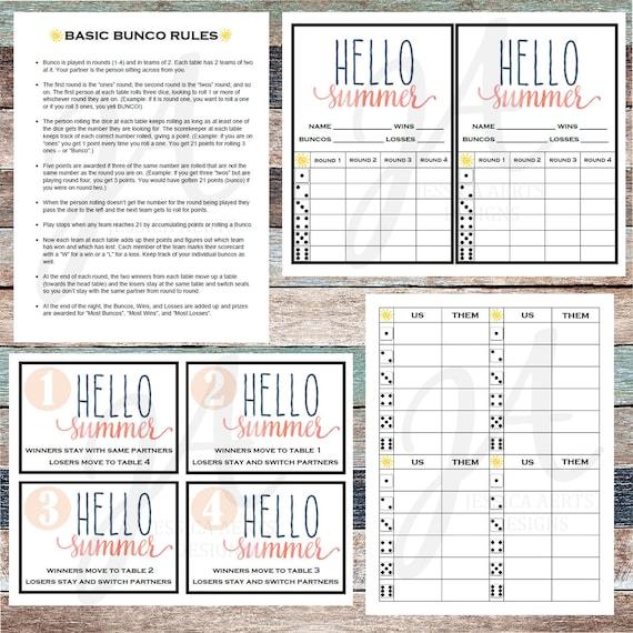 photo regarding Printable Bunco Cards named Summer season Printable Bunco Playing cards
