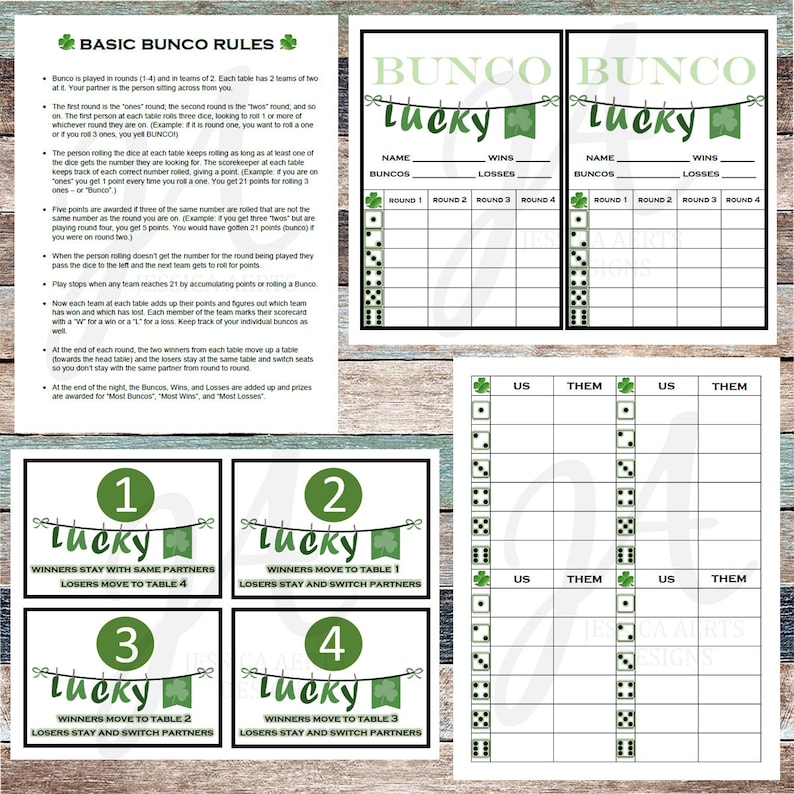 graphic relating to Printable Bunco Cards titled St. Patricks Working day Printable Bunco Playing cards