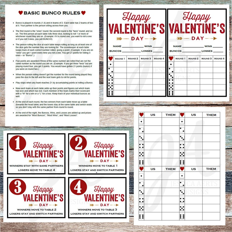 photo relating to Bunco Rules Printable named Valentines Printable Bunco Playing cards
