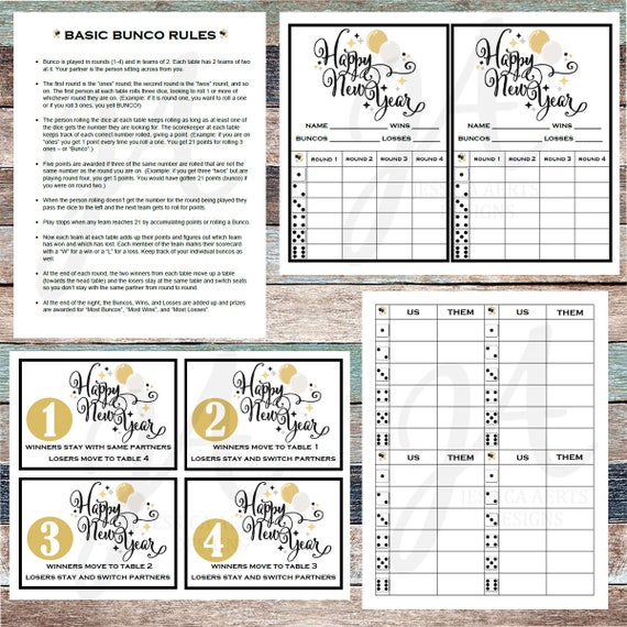 picture about Bunco Rules Printable identify Fresh new Several years Printable Bunco Playing cards