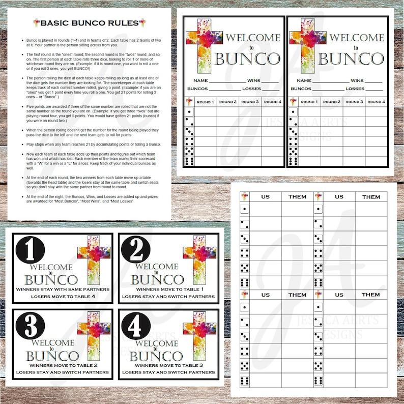 photo relating to Bunco Rules Printable named Spiritual Printable Bunco Playing cards