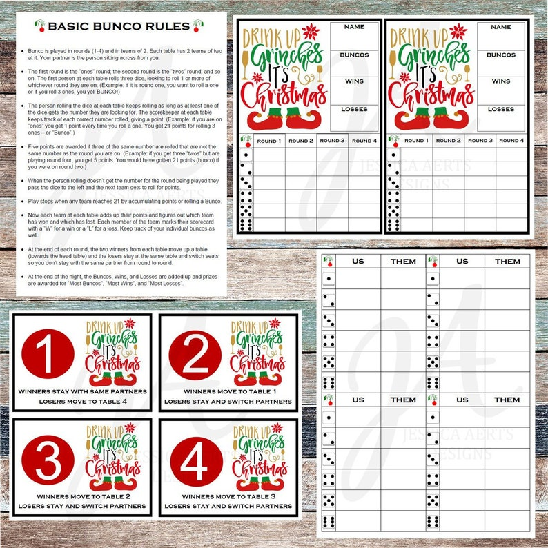 picture relating to Bunco Rules Printable known as Grinch Xmas Bunco Printable Bunco Playing cards