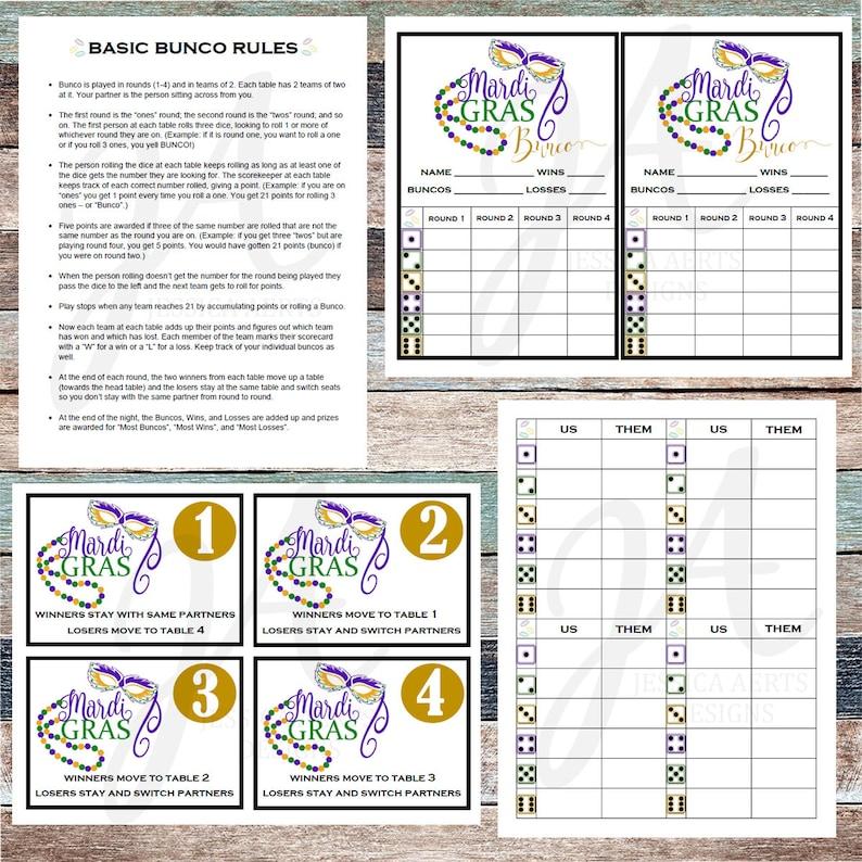 image regarding Bunco Rules Printable named Mardi Gras Printable Bunco Playing cards