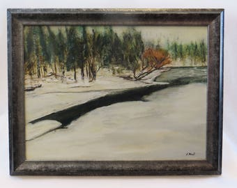 Hangman Creek in Winter, 2nd confluence.  Original signed oil painting