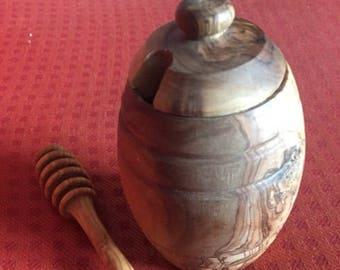 Box of honey/Honey Pot with wood-olive wood honey pot and spoon olive wood spoon