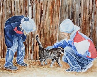 Little Girls Petting a Kitten /  A Barnyard Adventure / Original Watercolour Painting / Ready to Ship