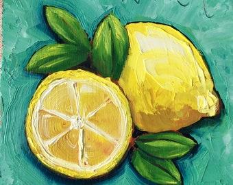 Lemons with leaves on blue original oil painting, lemon painting, kitchen art, lemon decor, lemon art, citrus art, small painting