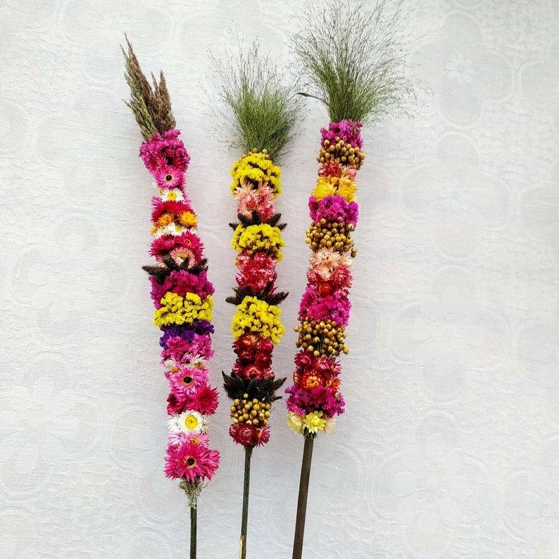Meadows Plants Ethnic Style Dried Bouquet for Home Decor Nursery Flowers Set Of Three Dried Flower High 3383cm Bouquet With Dried Flax