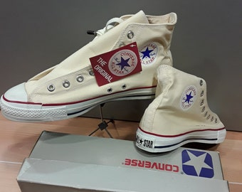 d39713bbdc83e9 Converse ALL STAR Chuck Taylor NEW with original box shoes Canvas Hi  vintage 1980 s Made in U.S.A. Rare collectable non bleached White 11.5
